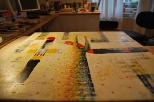 Geheimnis 63 (60 x 60 auf Leinwand) in Arbeit - Foto: pe