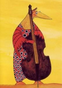 Kontrabass - aus der Reihe Paradiesvögel, gezeichnet von Petra Elsner