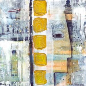 Traumfänger 3 von Petra Elsner, 16 x 16. Acryl auf Karton, 2014