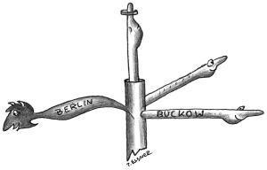 """Drei Wege liefen auf einen Kreuzpunkt in der Märkischen Schweiz zu. Dort stand ein Wegweiser mit vier Händen. Drei wiesen zum nächsten Ort, die vierte Hand gen Himmel: """"Zu Gott"""". (Zeichnung von Petra Elsner nachempfunden)"""
