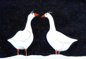 Eine Kostprobe zu den Illus im Gänsekrimi: Das aufhorchende Gänseduo Zeichnung: Petra Elsner