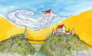 Die Windsbraut über dem Schlossberg aus der Mäuseperspektive. Zeichnung: Petra Elsner