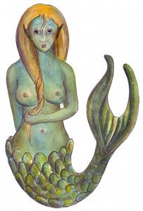 Wasserfrau Zeichnung von Petra Elsner