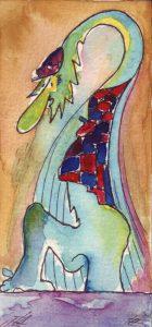 Am Schwarzwassersee. Zeichnung: Petra Elsner