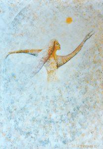 Petra Elsner: Echo der Vergangenheit, 70 x100, Acryl auf Karton, 2002