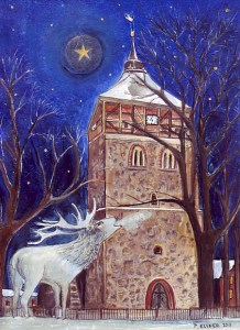 Kiche von Groß Schönebeck mit weißem Hirsch. Zeichnung von Petra Elsner