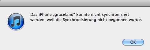 iphone konnte nicht synchronisiert werden, weil