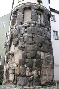 Haus mit Relikten aus der Römerzeit in Regensburg