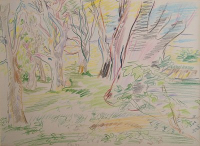 Oskar Kokoschka (1886 - 1980) Sous bois en Ecosse, 1944 Color pencil on paper 27 x 37 cm Monogrammed and dated lower left side Provenance: Rosita Haftmann Modern Art, Zürich, 1982; private collection.