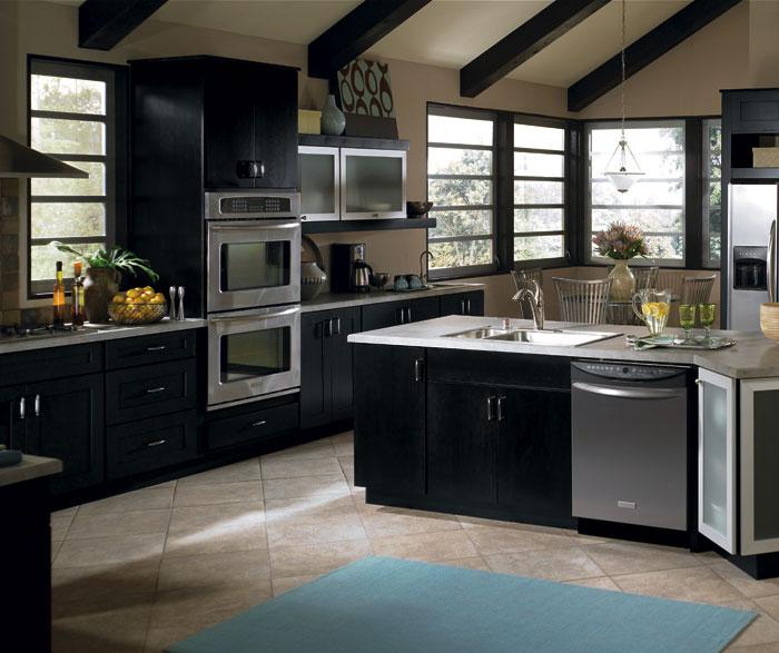 Contemporary Black Kitchen Cabinets Schrock