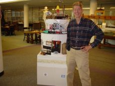 Stephen Hanpeter with Mercantile Library Gateway to the West birthday cake.