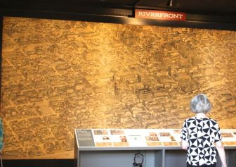 The pictorial maps are enlarged to 10 by 30 feet and backlit.