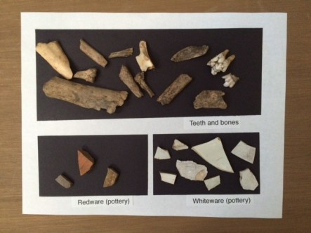 A sampling of artifacts from the 2016 dig at Sappington House.