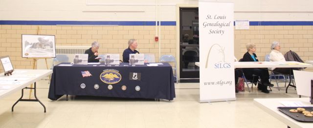 """""""N is for Never Forget,"""" and St. Louis Genealogical Society tables among other displays"""