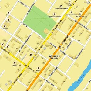Карта Щучинска подробная: номера домов, названия улиц, районы