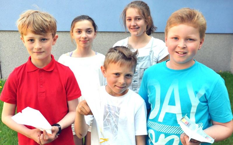 Die Schulsieger 2016 mit den größten Seiten: Luca Radom, Konrad Peters, Janis Maack, Odette Lehman und Lilly Teegen 10,30.