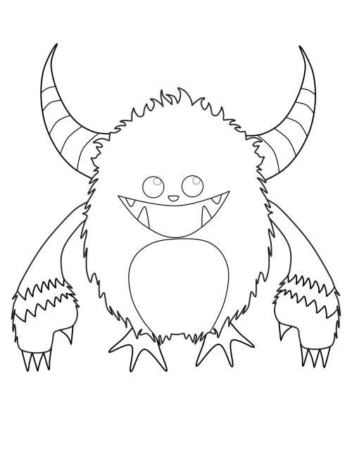 Kostenlose Malvorlage Halloween Gehrntes Monster Zum
