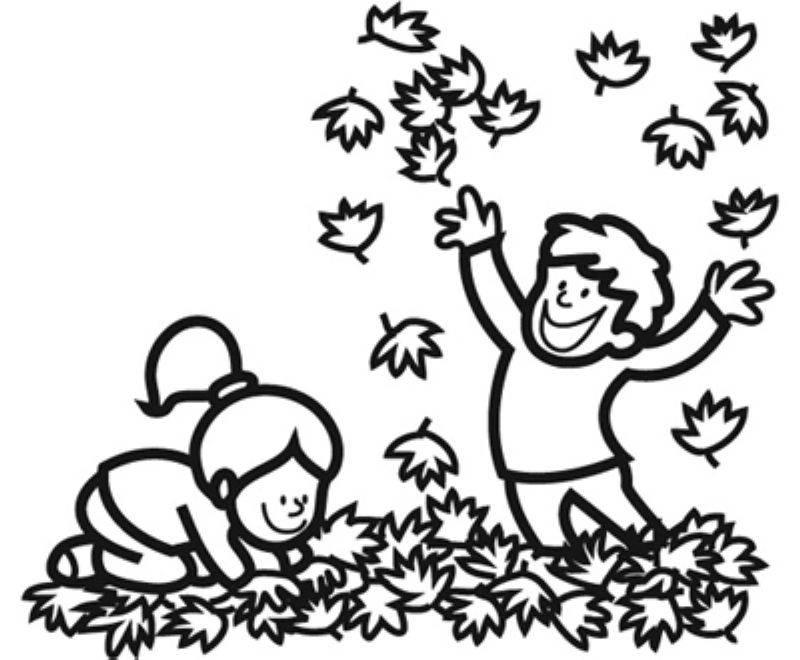 Kostenlose Malvorlage Herbst Kinder Machen Eine