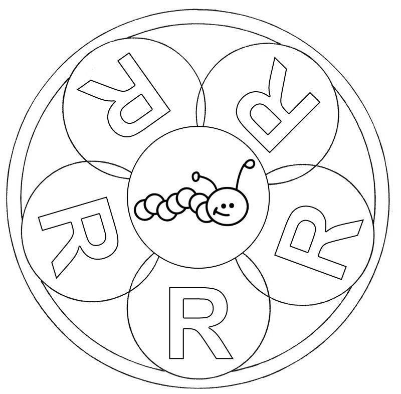 Ausmalbild Mandalas Mandala Buchstabe R Zum Ausmalen
