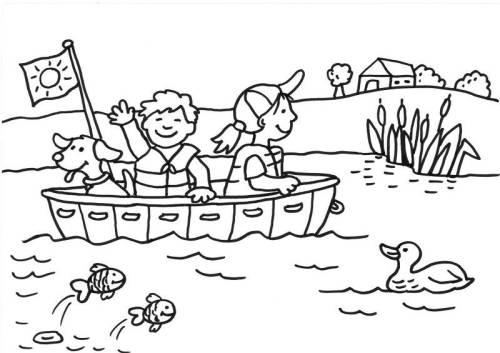 Kostenlose Malvorlage Sommer Bootsfahrt Zum Ausmalen