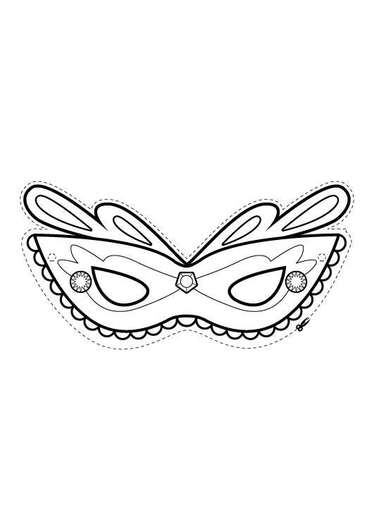 Ausmalbild Rund Ums Spielen Mdchen Maske Zum Ausmalen
