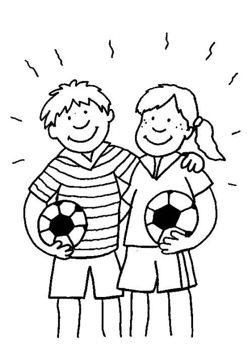 Kostenlose Malvorlage Sport Junge Und Mdchen Mit