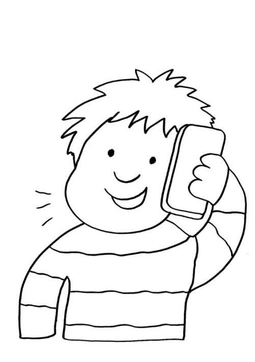 Kostenlose Malvorlage Handy Junge Telefoniert Zum Ausmalen