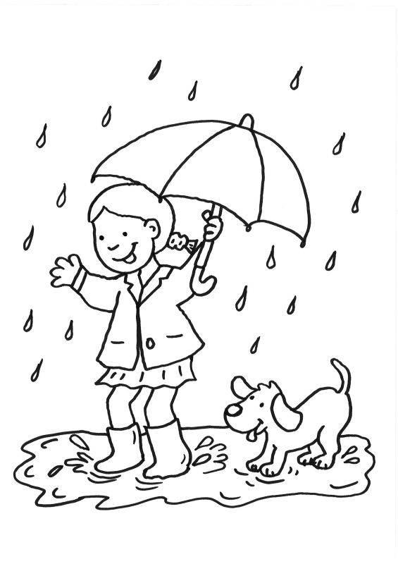Ausmalbild Hunde Mdchen Und Hund Im Regen Ausmalen