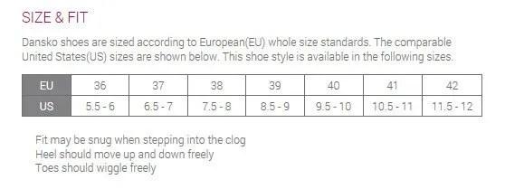 Dansko Shoes Size Chart