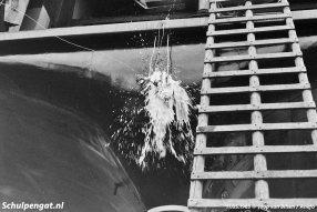 De doop van de Marsdiep op 11 mei 1963 op de werf in Zaandam.