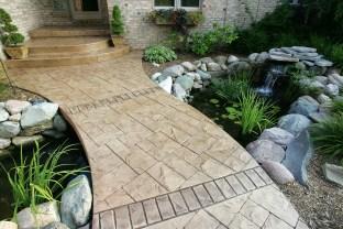 Ashlar cut stone with cut stone brick bands walkway