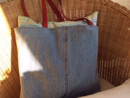 Einkaufstasche aus alter Jeans nähen