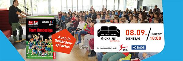 """Banner für digitale Lesung von ??? Kids, """"Team Bundesliga"""""""
