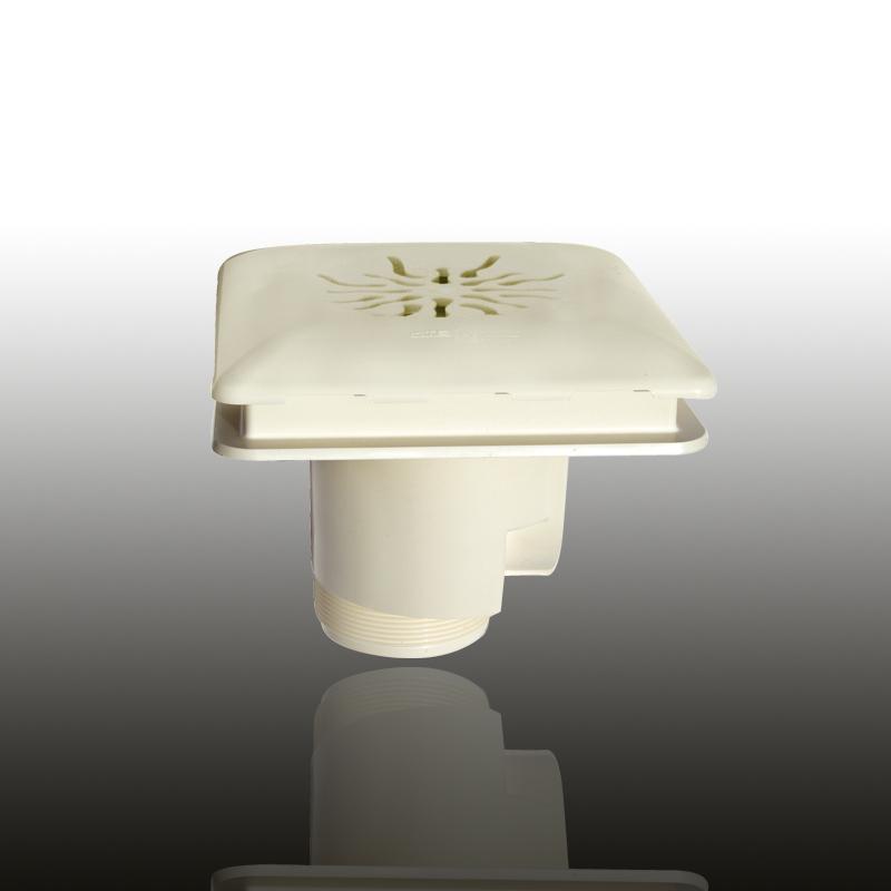 Bodenablauf: ABS Kunststoff Cremeweiß eckig / Blende: Cremeweiß / Art.Nr.: 4334 Image