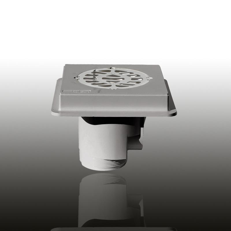 Bodenablauf: ABS Kunststoff Edelgrau eckig / Blende: V4A / Art.Nr.: 43145 Image