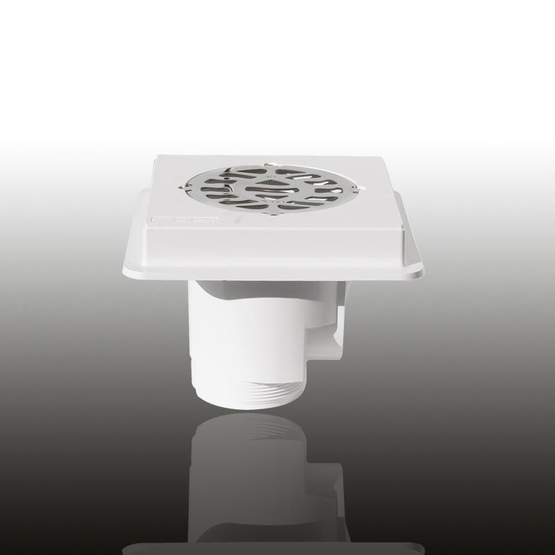 Bodenablauf: ABS Kunststoff Signalweiß eckig / Blende: V4A / Art.Nr.: 43141 Image