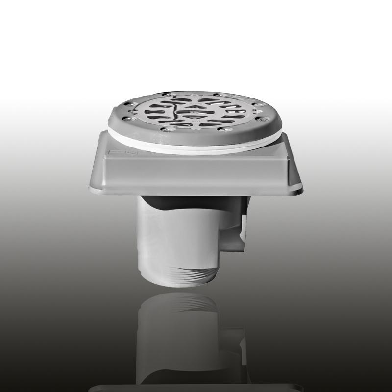 Bodenablauf: ABS Kunststoff Edelgrau eckig / Blende: V4A / Art.Nr.: 48145 Image