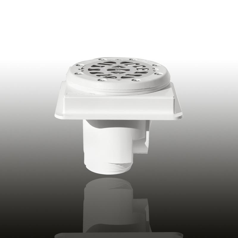 Bodenablauf: ABS Kunststoff Signalweiß eckig / Blende: V4A / Art.Nr.: 48140 Image