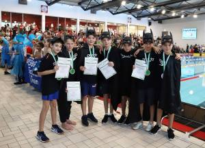 Platz 1 in 24:25,16. männliche D-Jugend: (von links nach rechts) Luka Popovic, David Bauer, Luis Reiske, Paul Piontek, Nils Piontek