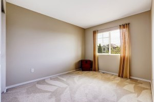Bright Empty Room with One Window, Beige Carpet Floor, and Ivory Walls with window replacement