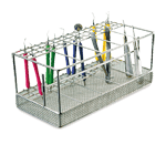 Vertical instrument rack (loaded with colourful instruments)