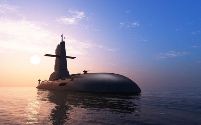 Submarino, contra, noite, céu