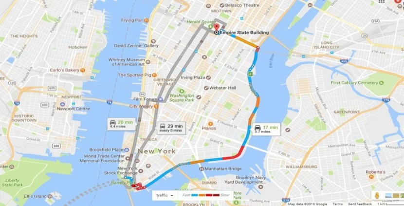 Mapa de Tráfego de Boston a Manhattan1