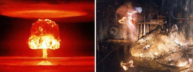 explosão de pé nuclear e elefante