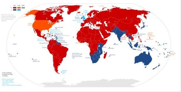 Os países que dirigem à esquerda ou à direita usam quilômetros ou milhas