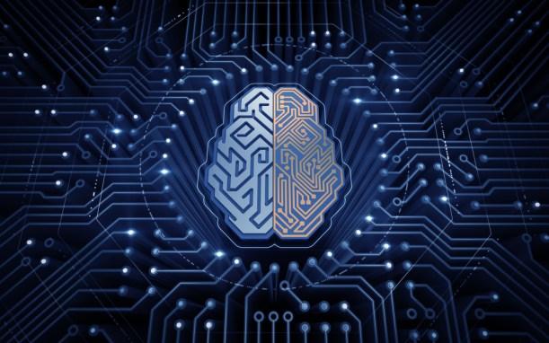 Cérebro Cibernético.  Chip eletrônico em forma de cérebro humano no ciberespaço eletrônico (Sergey Tarasov) s