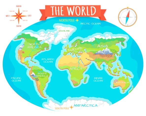 O mapa geográfico do mundo.  Nomes dos continentes, oceanos (robuart) s