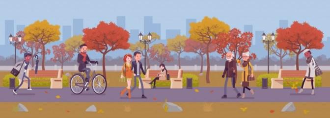 Zona de parque temporada outono com as pessoas.  Grande jardim público no outono (Andrew Rybalko) s