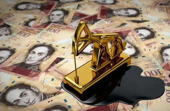 Pumpjack dourado e óleo derramado em bolívares (Venezuela) (3Dsculptor) s