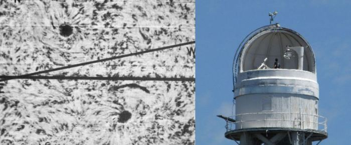 1908 image showing opposing sunspot vortices and Mount Wilson solar tower (Davefox/Wikimedia/Public Domain)